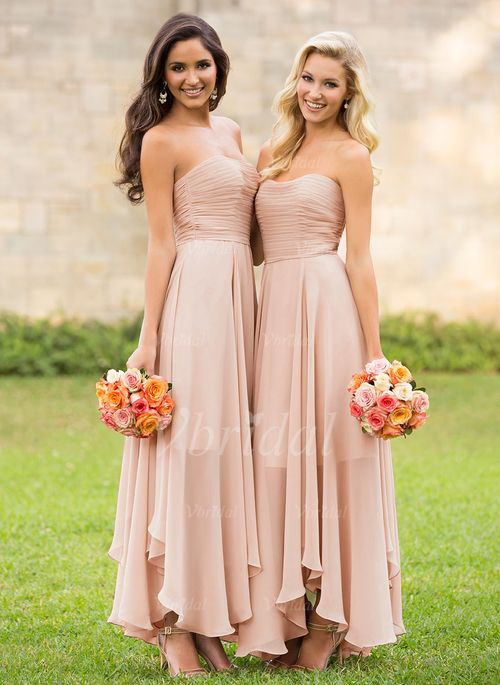 Bridesmaid Dresses - $139.78 - A-Line/Princess Strapless Sweetheart Asymmetrical Chiffon Bridesmaid Dress With Ruffle (0075097732)