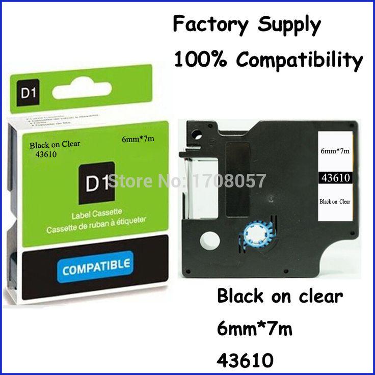 6 мм лента 43610 совместим Dymo ленты Labelmanager этикетка черный в ясные клей ламинированный то же самое с Dymo D1 этикетки