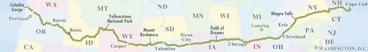 """""""The Oregon Trail"""" Road Trip. Over 3,200 miles along US-20."""