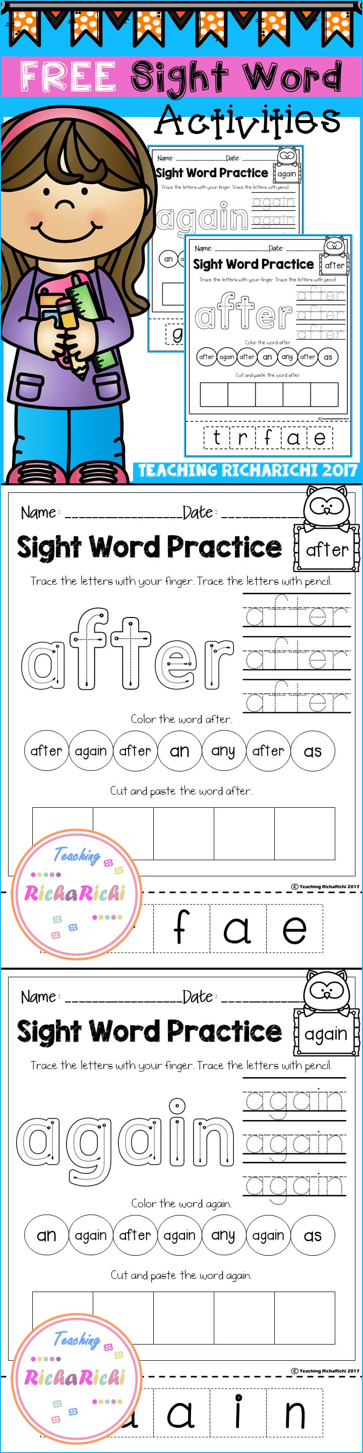 Free Worksheet Free Printable Worksheets For Kindergarten Sight Words 17 best ideas about sight word worksheets on pinterest free activities first grade