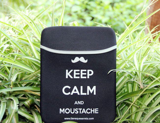 Funda para ipad Keep kalm and Moustache