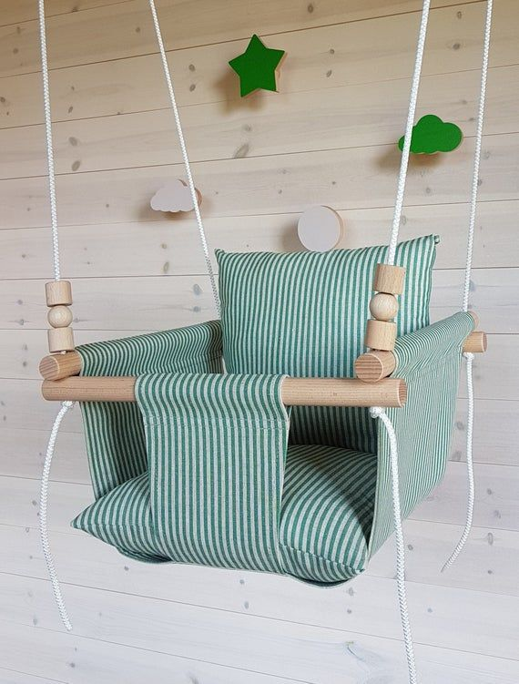 READY TO SHIP Indoor baby swing Natural toy Baby shower gift High back swing Birthday gift Wood swing Linen fabric Swing chair Kids swing