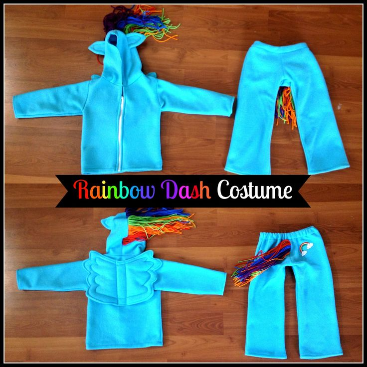 Step-by-step tutorial with photos and descriptions to sew a My Little Pony Rainbow Dash costume.
