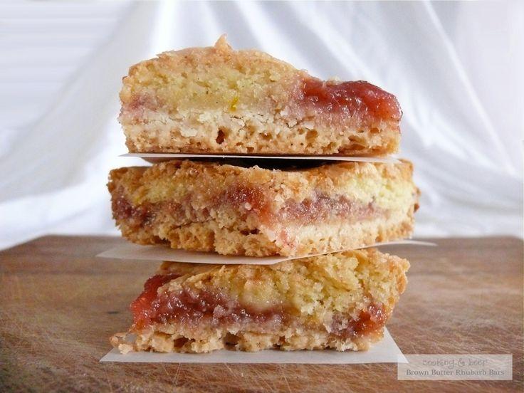 Brown Butter Rhubarb Cookie Bars