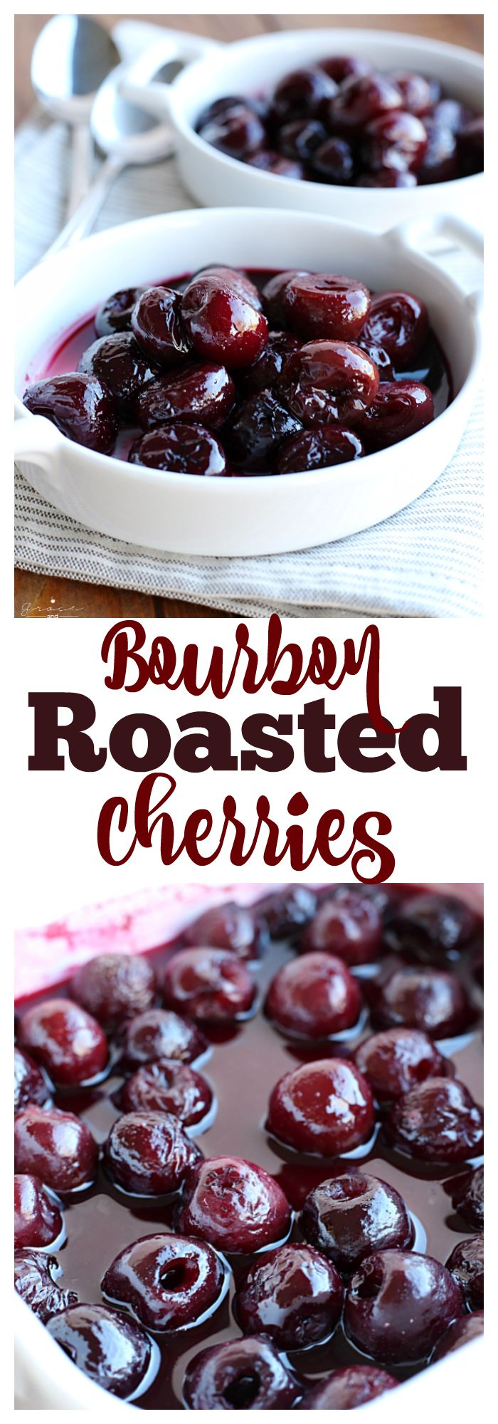 Bourbon Roasted Cherries- this simple fruit compote is perfect over ice cream, cake, or even oatmeal! Works beautifully with frozen fruit and keeps in the refrigerator for up to two weeks.