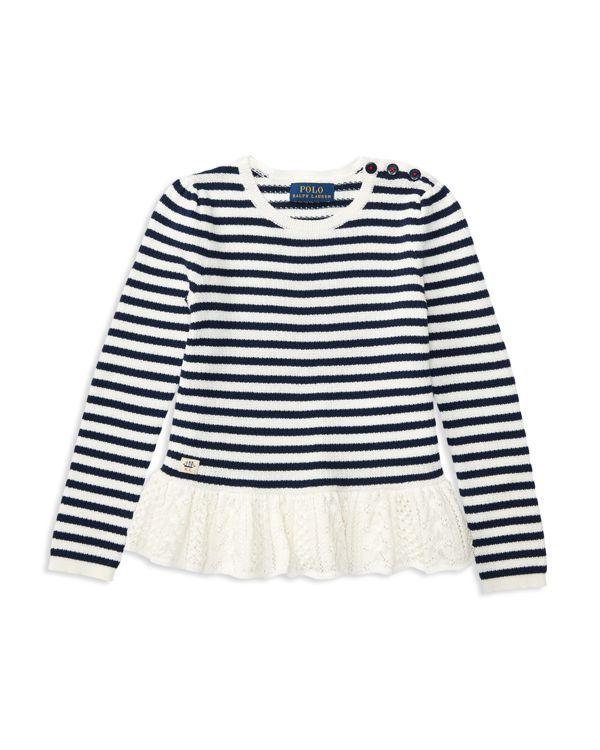 Ralph Lauren Childrenswear Girls' Pointelle Peplum Sweater - Sizes 2-6X