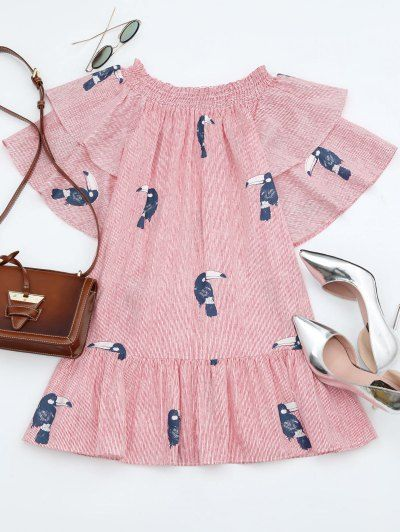SHARE & Get it FREE | Off Shoulder Smocked Striped Ruffles Dress - Stripe One SizeFor Fashion Lovers only:80,000+ Items • New Arrivals Daily Join Zaful: Get YOUR $50 NOW!