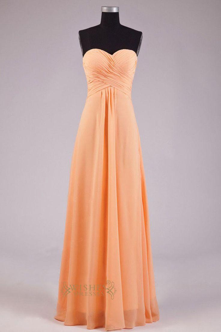 A line Sweetheart Orange Chiffon Floor Length Bridesmaid Dress AM252