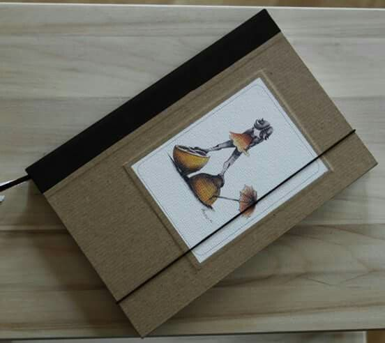 Handmade cookbook - brown canvas as back cover, brown paper and picture as front cover