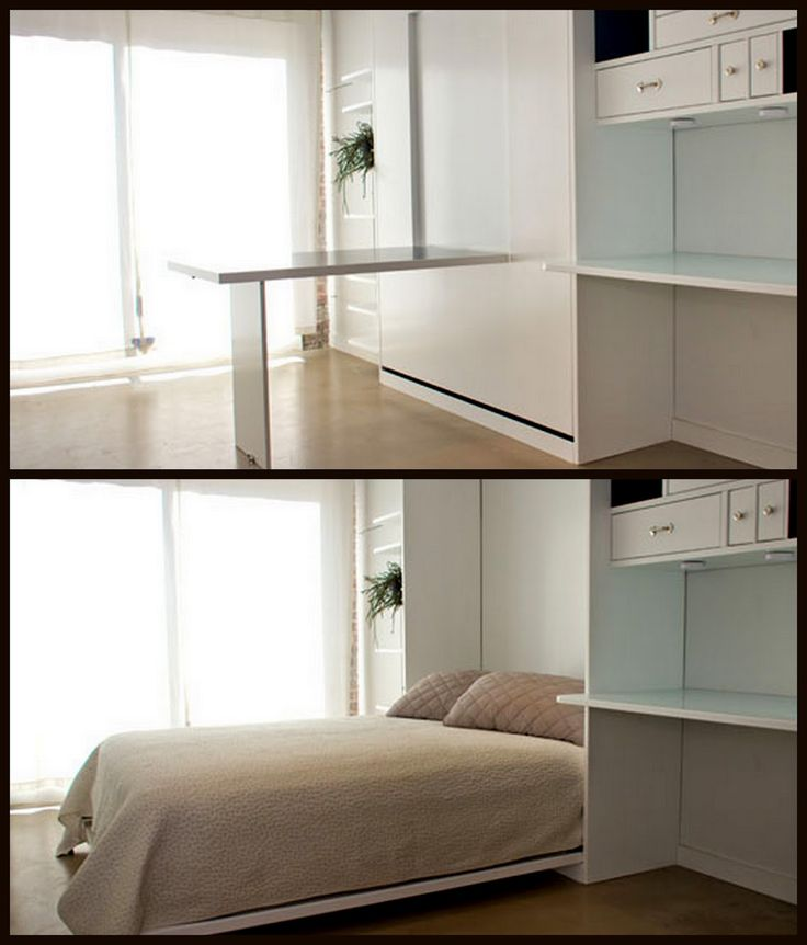White High Gloss Finished Wooden Murphy Bed With Desk Under Drawers Using Beige Comforter And Pillowcase As Well As Pull Down Wall Beds  Also Best Mattress For A Murphy Bed, Charming Modern Murphy Beds Bring Fresh Look In To Your Bedroom: Bedroom, Furniture