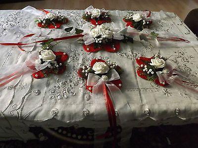Tischdekoration 5 tlg  Tischdeko Hochzeit Taufe Kommunion Konfirmation Rot Weiß