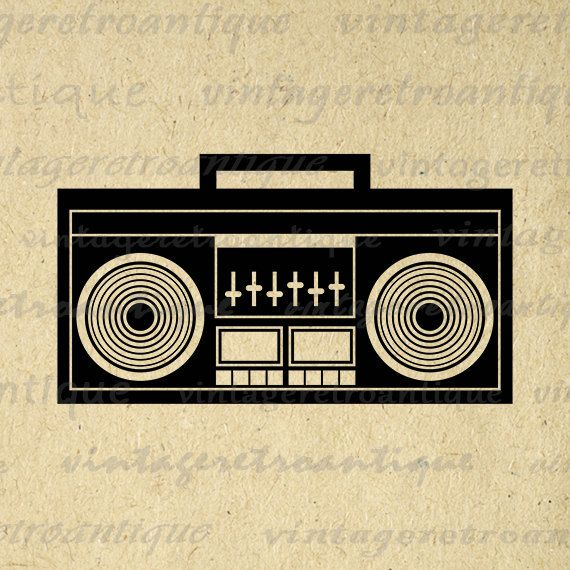 Boombox Image Printable Digital Download Music Radio Stereo Graphic Vintage Clip Art Jpg Png Eps 18x18 HQ 300dpi No.3999 @ vintageretroantique.etsy.com