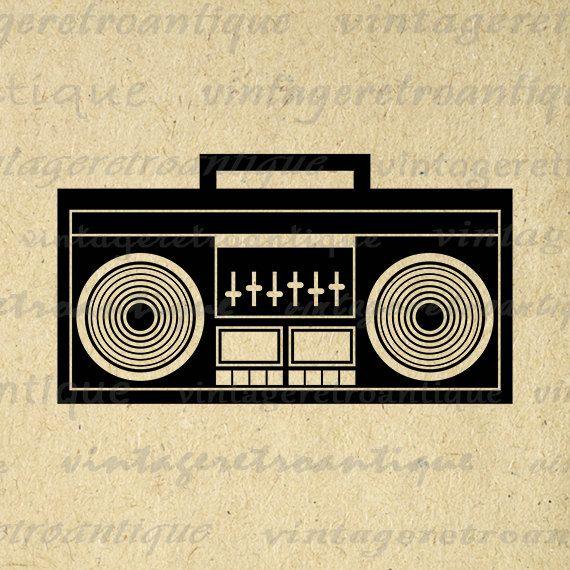 Boombox Image Printable Digital Download Music Radio Stereo Graphic Vintage Clip Art Jpg Png Eps 18x18 HQ 300dpi No.3999 @ vintageretroantique.etsy.com