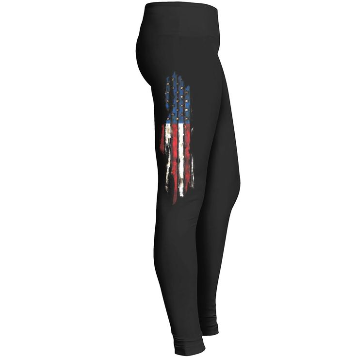 "American flag ripped leggings Amazing Comfort Fit Leggings! Advanced ""Serge Stitching"" for strength and durability, as well as the best quality Cotton and Spandex mixture. These leggings are a 65% Cotton, 30% Polyester and 5% Spandex blend of fabric. PRINTING ON THE RIGHT LEG ONLY."
