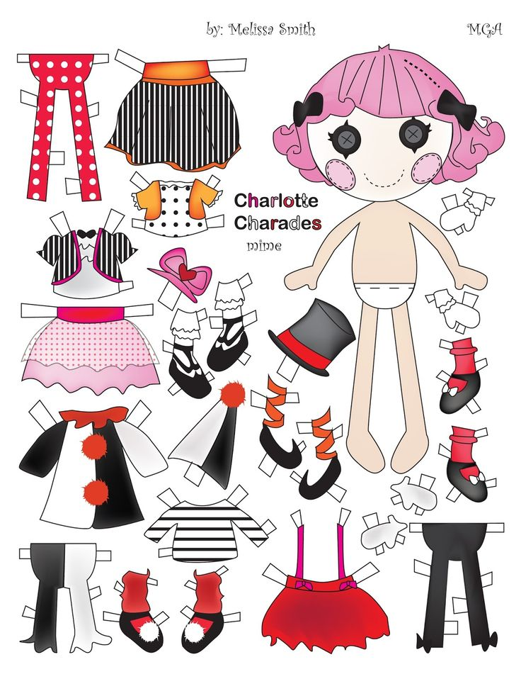 LALALOOPSY Paper Doll designed by Melissa Smith based on the MGA dolls Featured in Circus Issue of OPDAG's Paper Doll Studios Issue 104. Charlotte Charades is a mime and Peanut Big Top is a clown.