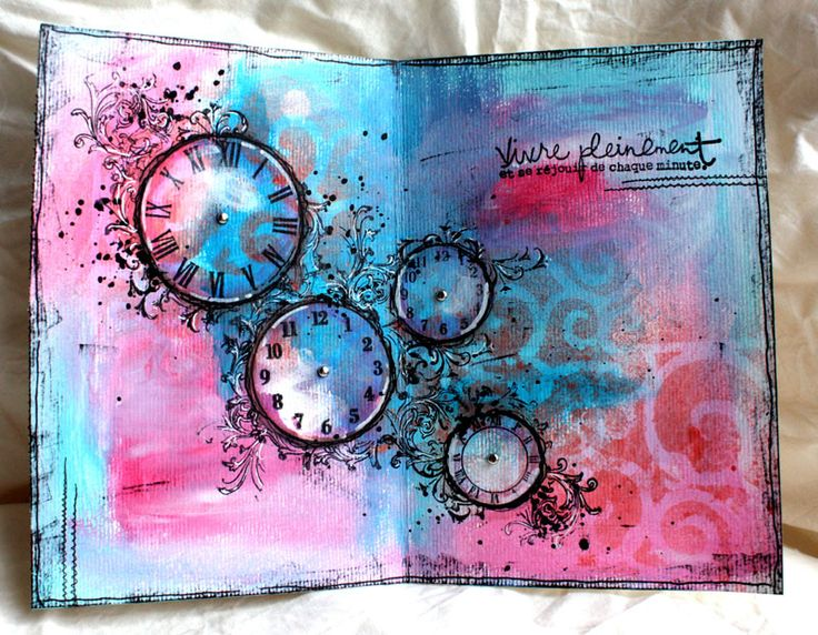 clock stamped journal page with mask Time keeps on ticking ticking ticking into the future