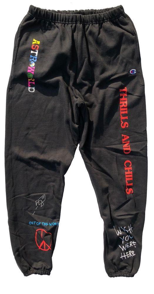 54613eacbc95 Travis Scott AstroWorld 'World Peace' Black Sweatpants (eBay Link ...