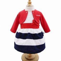 Robe en coton blanc, marine et rouge + boléro rouge