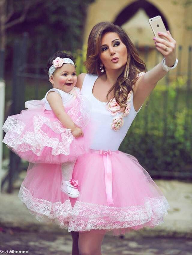 Matching mother and daughter.pink skirt,white top.so cute