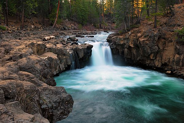 Beautiful Northern California Drop Top: Sunset At Lower Falls Of The McCloud River, Northern
