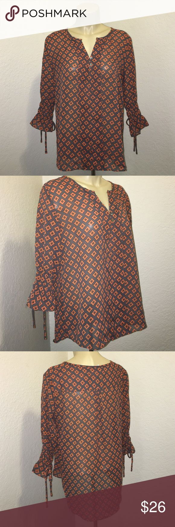 🆕 🍂 Orange & Grey Geometric Sheer Blouse Top 3/4 sleeve sheer blouse by Umgee. Size meaning. In excellent condition. Brand new with tags. Orange and grey geometric print. chic and stylish. Umgee Tops Blouses