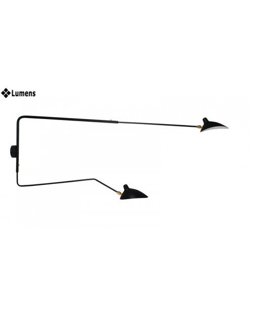 Wall lamp with one rotating straight arm and one curved arm.  The curved arm can be rotated to up/down side or left/right side. Contemporary wall lamp Serge Mouille Style Lamps Aluminum adjustable shades Matte black or white powder coat finish Material : Steel, aluminum, brass.