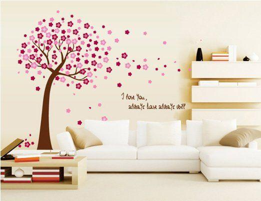 ufengke® Romantico Fiore Albero Rosso Adesivi Murali, Camera da Letto Soggiorno Adesivi da Parete Removibili/Stickers Murali/Decorazione Murale