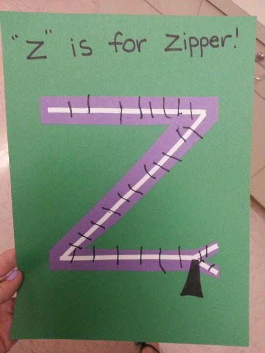 """Final letter!  """"z"""" is for zipper!"""