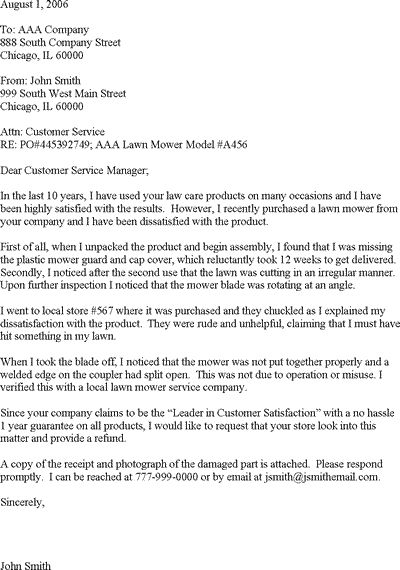 Customer complaint letter template for Customer response letter templates