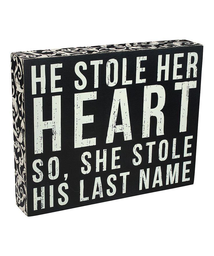 Black 'Last Name' Box Sign