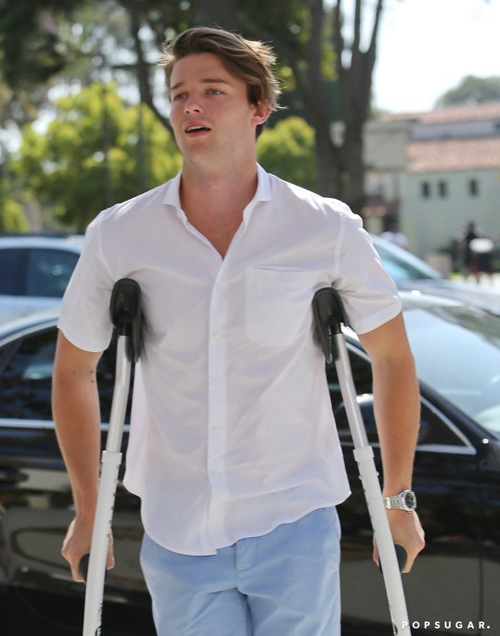 Pin for Later: This Weekend's Must-See Snaps! Good Sport Patrick Schwarzenegger has to use crutches, but that didn't stop him from attending church with his family in LA on Easter Sunday.