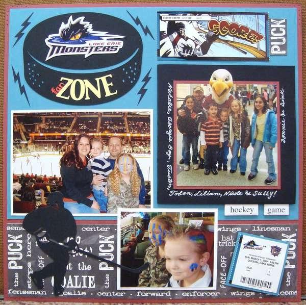 Hockey Layout Family scrapbook, Scrapbooking sports