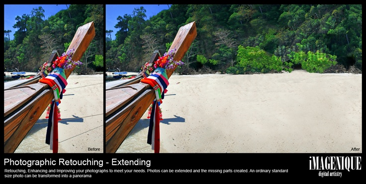 Photographic Retouching: EXTENDING. Photos can be extended with the missing parts created to create a new panorama!