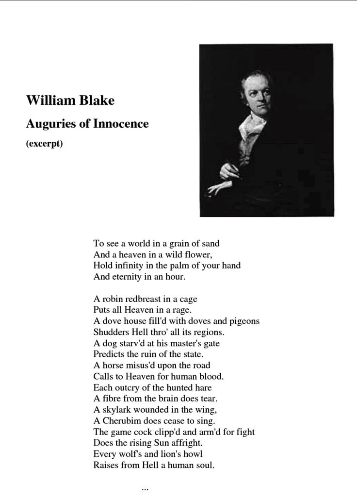 auguries of innocence William blake: auguries of innocence aware that 'observations depend on the observer', he hated the all-pervading faith in reason, so predominant in his age, which.