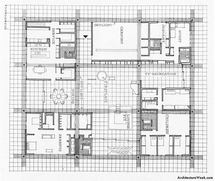 Ground floor plan of the Miller House (1957), Eero Saarinen