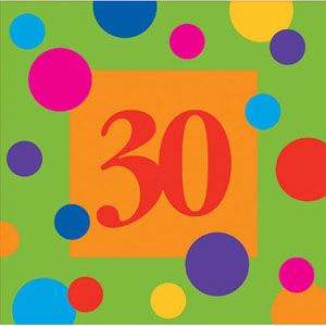 20663084 - Birthday Stripes Lunch Napkins. Birthday Stripes - 30th Lunch Napkins, (33cm x 33cm) 3 Ply - Pack of 16 Please note: approx. 14 day delivery