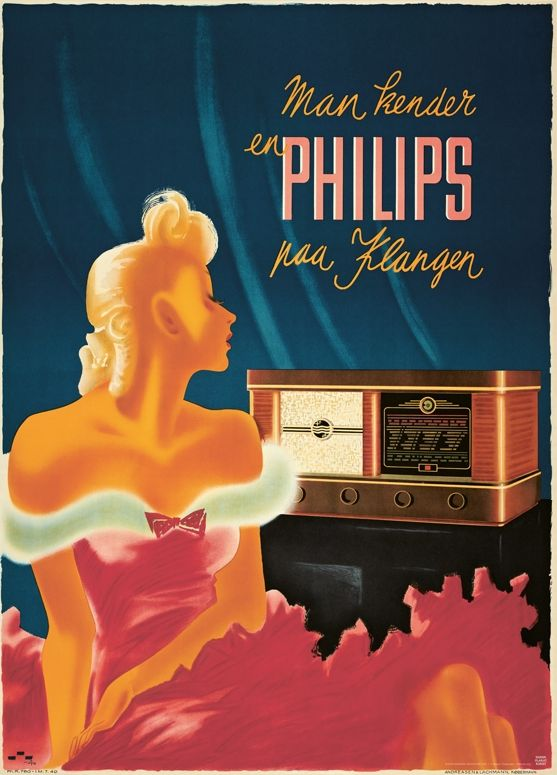 Advertising by Henry Thelander (1902-1986), 1940, Man kender en Philips paa klangen. (Danish)