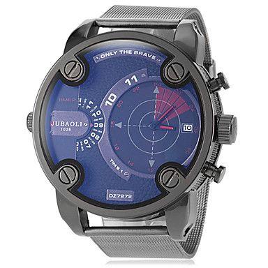 EUR € 21.99 - mannen militaire grote ronde lichtmetalen wijzerplaat band quartz horloge (verschillende kleuren), Gratis Verzending voor alle Gadgets!