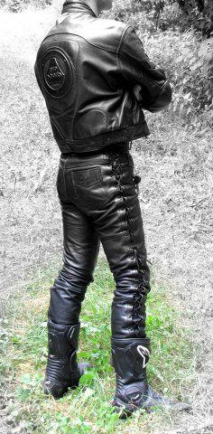 Men's biker leather jacket & jeans