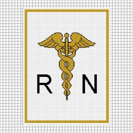CADUCEUS RN MEDICAL SYMBOL CROCHET PATTERN GRAPH AFGHAN