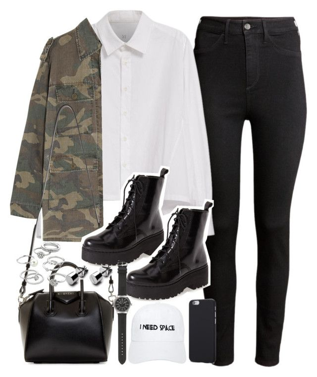 """Outfit with black boots"" by ferned on Polyvore featuring H&M, Y's by Yohji Yamamoto, Yves Saint Laurent, Givenchy, Jeffrey Campbell, Candie's, J.Crew and Nasaseasons"