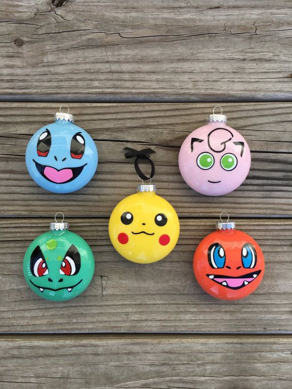 Pokemon Ornament Set of 3 Pokemon Ornaments Pokemon by BallyandLis
