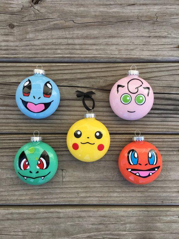 Pokemon Ornament Set of 5, Pokemon Ornaments, Pokemon Gift, Pikachu Pokemon, Boys Ornament