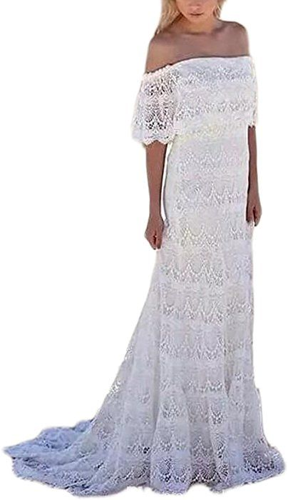 ede09d2d3bf Veilace Women s Lace Bohemian Summer Beach Wedding Dress Off The Shoulder  Boho Bridal Gowns .. at Amazon Women s Clothing store