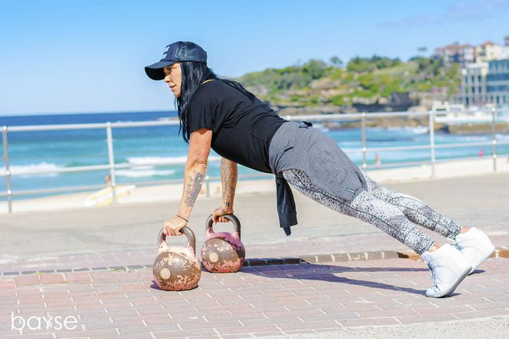Bondi Vixen showing how push-ups are done | Vixen is wearing Bayse Snake print tights and batwing tee and essential slouch crew sweater | fitness fitspiration motivation girl compression activewear fitness wear sportswear gymgear sportsstop | bayse | womens activewear, basics & essentials