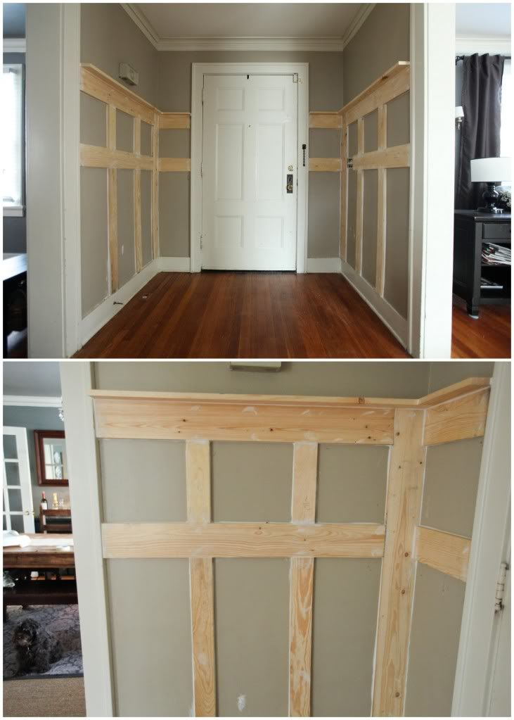 DIY faux paneling - would be great for out little entry way with hooks, shelving and a bench!