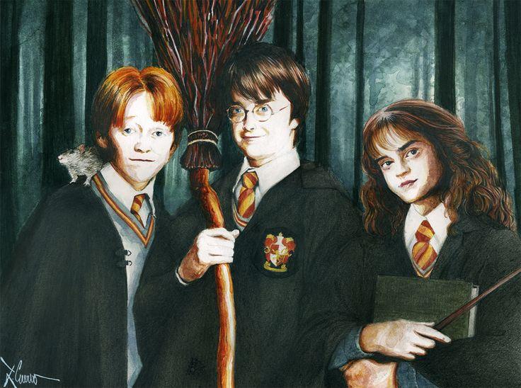 Harry, Ron y Hermione. (acuarela + grafito)