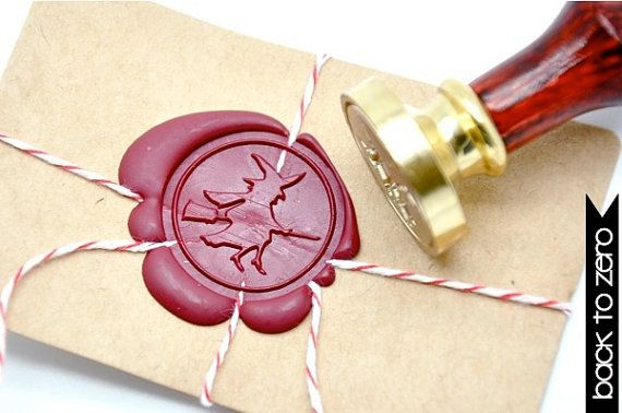 Witch Halloween Gold Plated Wax Seal Stamp x 1