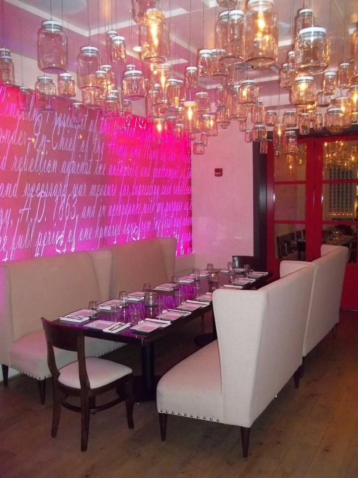 a 19 wide 8 tall custom wall was designed and fabricated by dbd studio for lincoln restaurant in dc five 12 acrylic panels were cut to size and