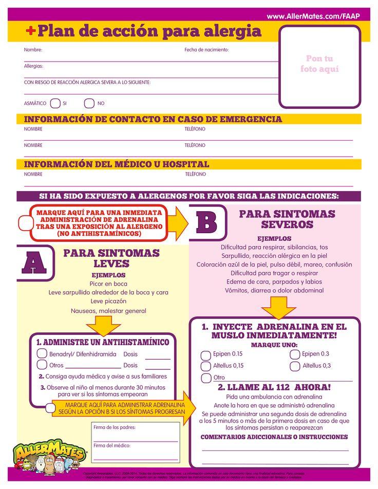 Allergy Action Plan (Spanish) School Nursing Allergies
